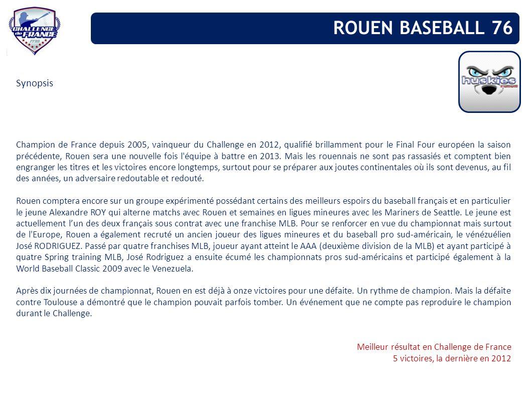 Synopsis Champion de France depuis 2005, vainqueur du Challenge en 2012, qualifié brillamment pour le Final Four européen la saison précédente, Rouen