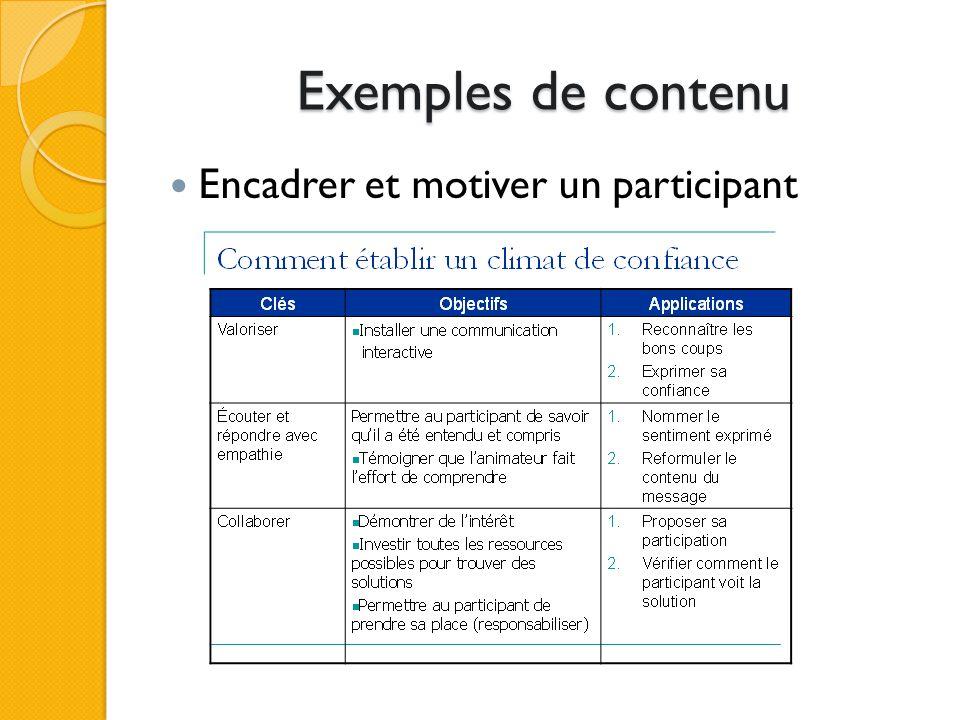 Exemples de contenu Encadrer et motiver un participant