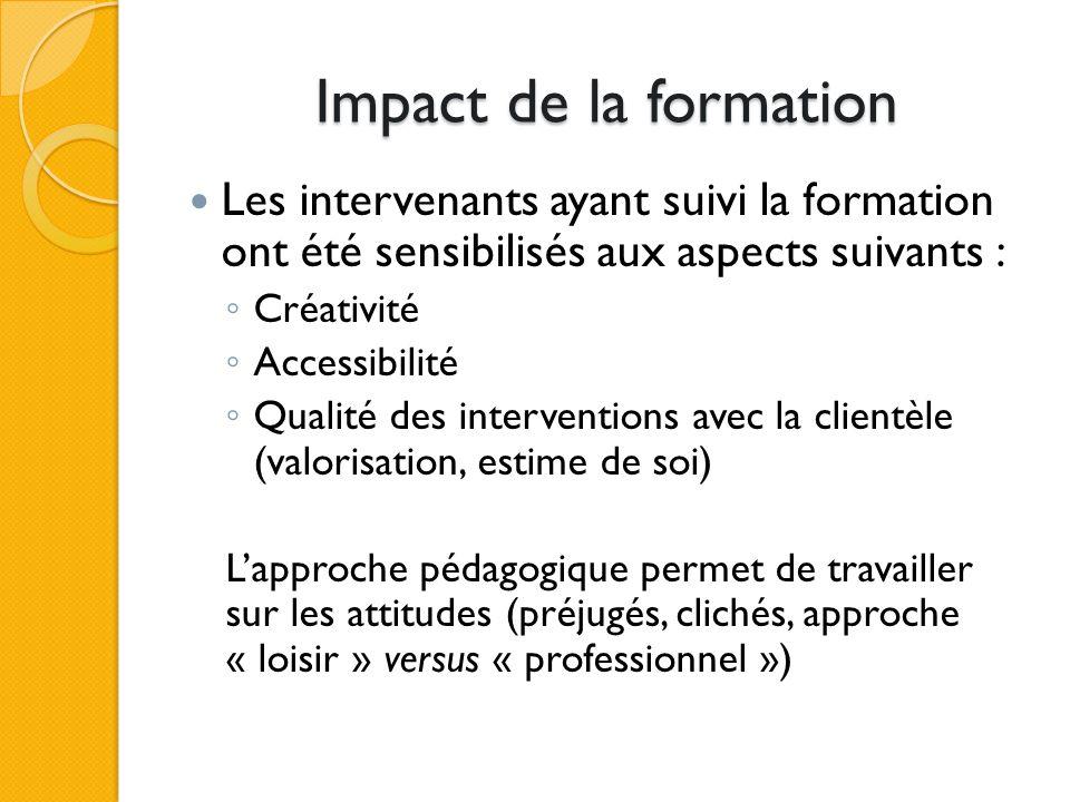 Impact de la formation Les intervenants ayant suivi la formation ont été sensibilisés aux aspects suivants : Créativité Accessibilité Qualité des inte