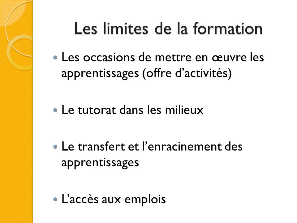 Les limites de la formation Les occasions de mettre en œuvre les apprentissages (offre dactivités) Le tutorat dans les milieux Le transfert et lenracinement des apprentissages Laccès aux emplois
