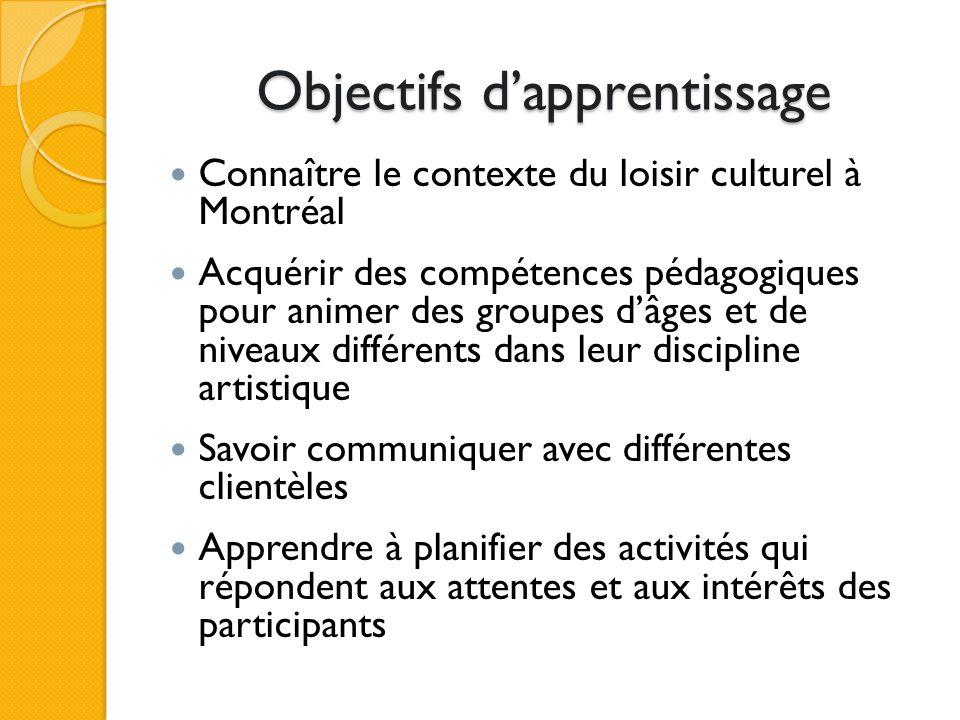 Objectifs dapprentissage Connaître le contexte du loisir culturel à Montréal Acquérir des compétences pédagogiques pour animer des groupes dâges et de niveaux différents dans leur discipline artistique Savoir communiquer avec différentes clientèles Apprendre à planifier des activités qui répondent aux attentes et aux intérêts des participants