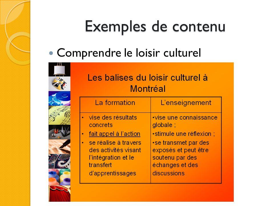 Exemples de contenu Comprendre le loisir culturel