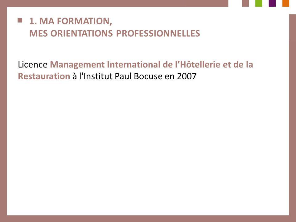 1. MA FORMATION, MES ORIENTATIONS PROFESSIONNELLES Licence Management International de lHôtellerie et de la Restauration à l'Institut Paul Bocuse en 2