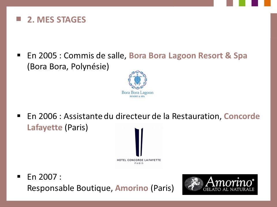 2. MES STAGES En 2005 : Commis de salle, Bora Bora Lagoon Resort & Spa (Bora Bora, Polynésie) En 2006 : Assistante du directeur de la Restauration, Co