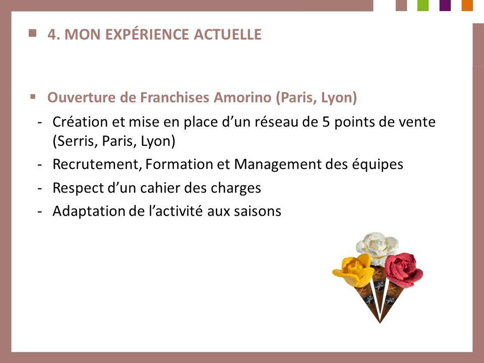 4. MON EXPÉRIENCE ACTUELLE Ouverture de Franchises Amorino (Paris, Lyon) -Création et mise en place dun réseau de 5 points de vente (Serris, Paris, Ly