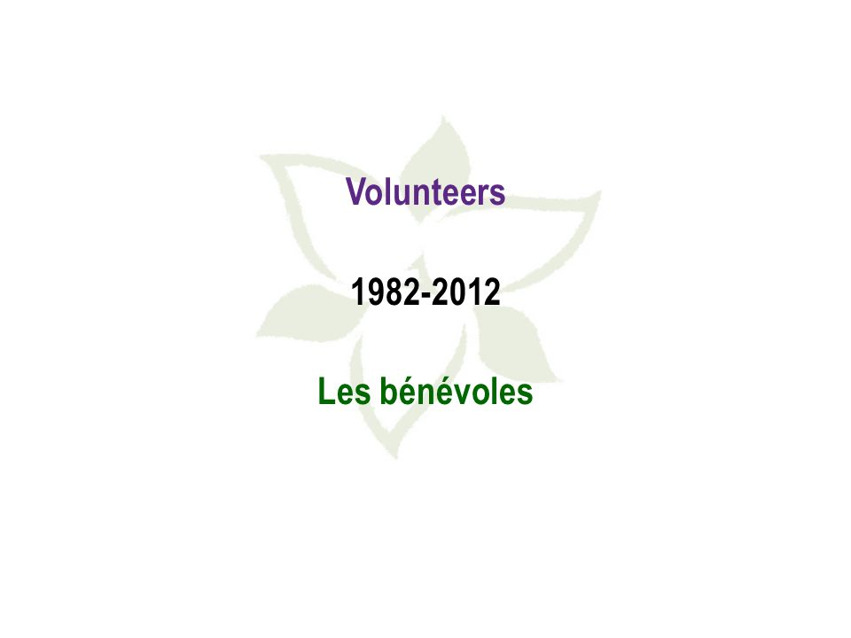 Volunteers 1982-2012 Les bénévoles