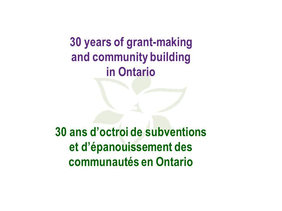 Granting programs, priorities and strategic directions 1982-2012 Programmes, priorités et orientations stratégiques liés aux subventions