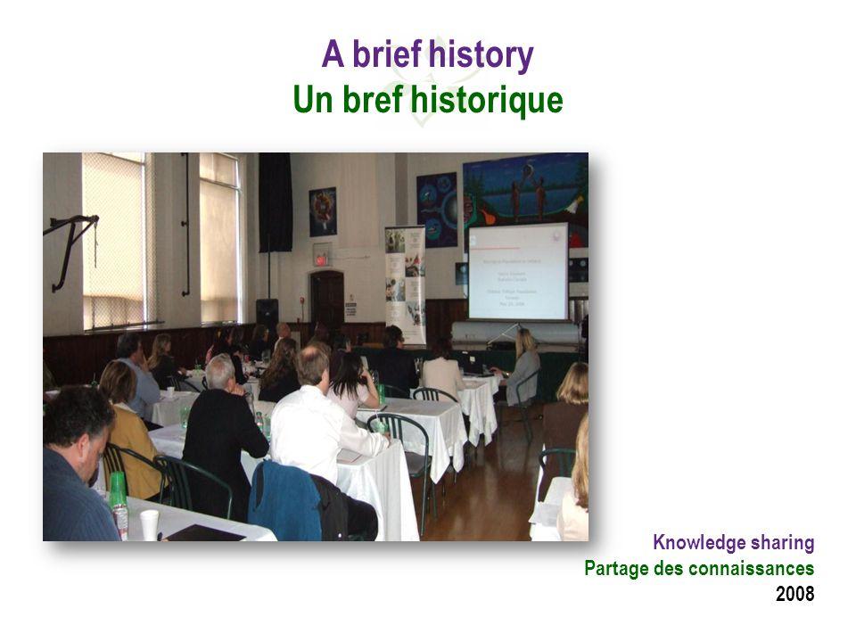 A brief history Un bref historique Knowledge sharing Partage des connaissances 2008