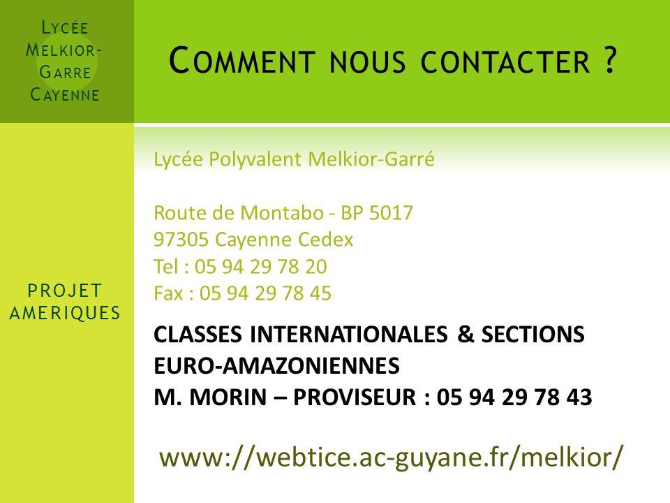 L YCÉE M ELKIOR - G ARRE C AYENNE Merci de votre attention ! www://webtice.ac-guyane.fr/melkior/