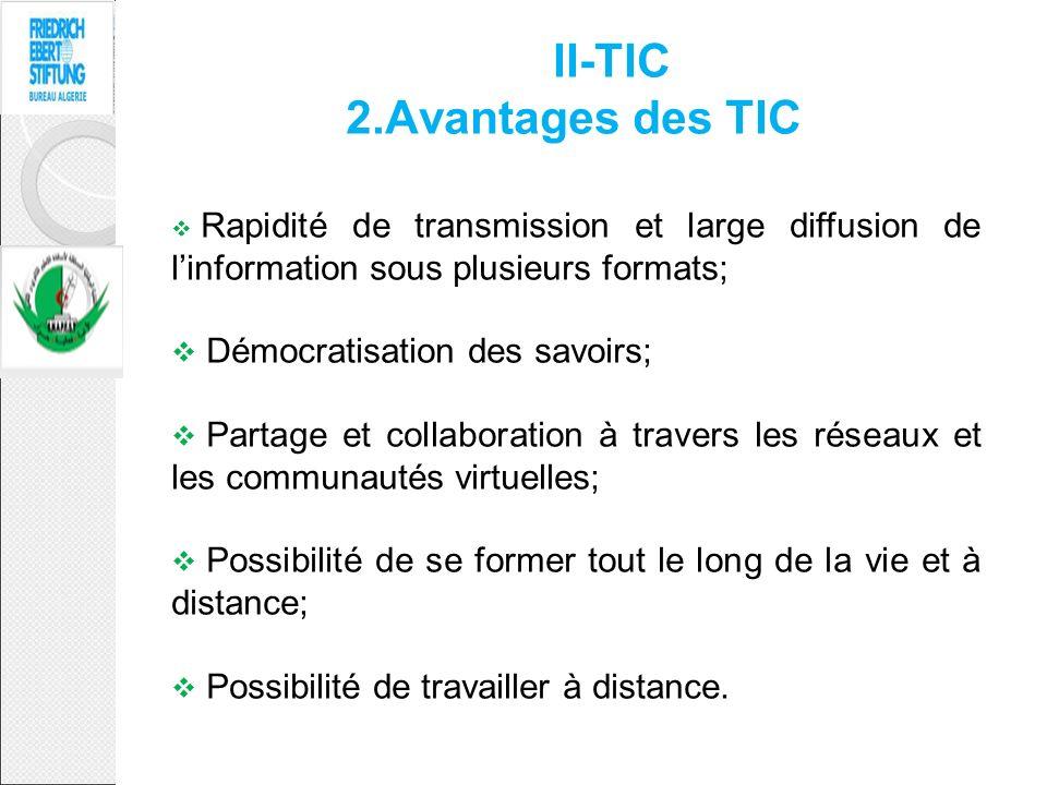 II-TIC 2.Avantages des TIC Rapidité de transmission et large diffusion de linformation sous plusieurs formats; Démocratisation des savoirs; Partage et