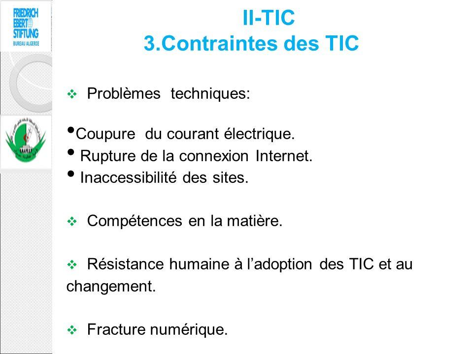 Problèmes techniques: Coupure du courant électrique. Rupture de la connexion Internet. Inaccessibilité des sites. Compétences en la matière. Résistanc
