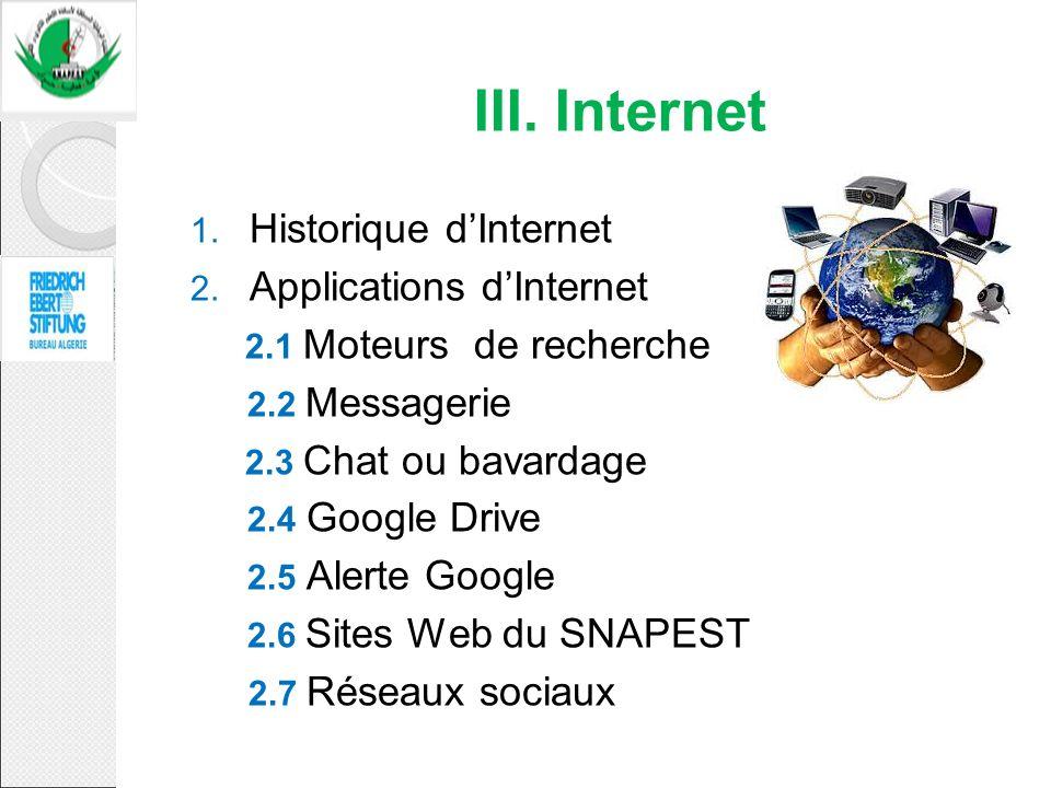 1. Historique dInternet 2. Applications dInternet 2.1 Moteurs de recherche 2.2 Messagerie 2.3 Chat ou bavardage 2.4 Google Drive 2.5 Alerte Google 2.6