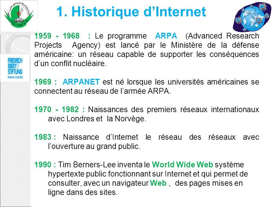 1. Historique dInternet 1959 - 1968 : Le programme ARPA (Advanced Research Projects Agency) est lancé par le Ministère de la défense américaine: un ré