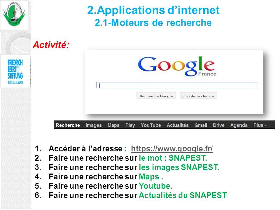2.Applications dinternet 2.1-Moteurs de recherche Activité: 1.Accéder à ladresse : https://www.google.fr/https://www.google.fr/ 2.Faire une recherche