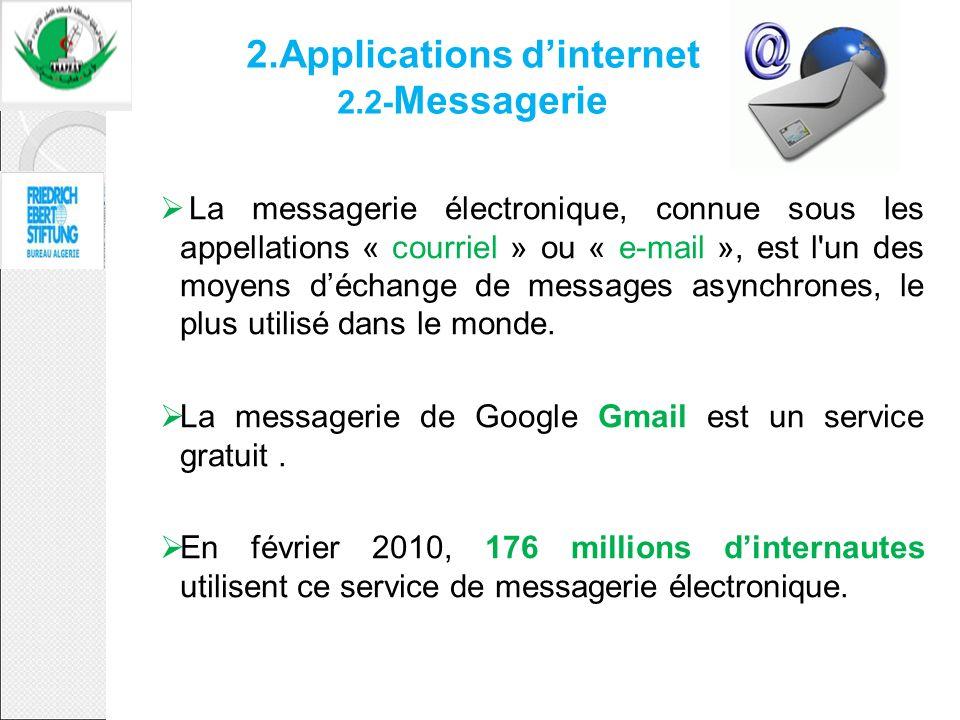 2.Applications dinternet 2.2- Messagerie La messagerie électronique, connue sous les appellations « courriel » ou « e-mail », est l'un des moyens déch