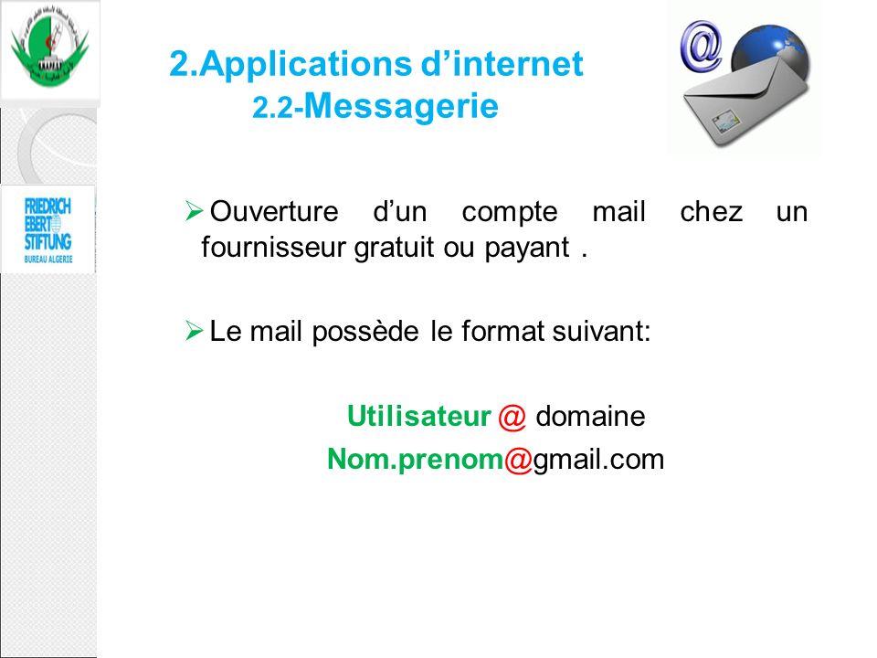 2.Applications dinternet 2.2- Messagerie Ouverture dun compte mail chez un fournisseur gratuit ou payant. Le mail possède le format suivant: Utilisate