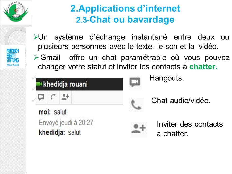 2.Applications dinternet 2.3- Chat ou bavardage Un système déchange instantané entre deux ou plusieurs personnes avec le texte, le son et la vidéo. Gm