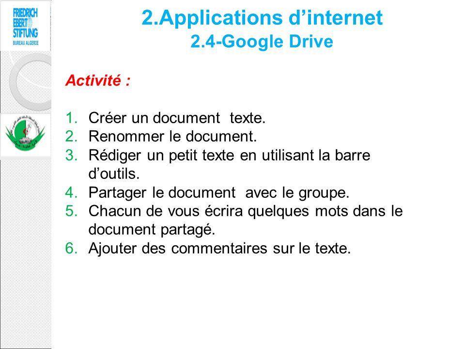 2.Applications dinternet 2.4-Google Drive Activité : 1.Créer un document texte. 2.Renommer le document. 3.Rédiger un petit texte en utilisant la barre