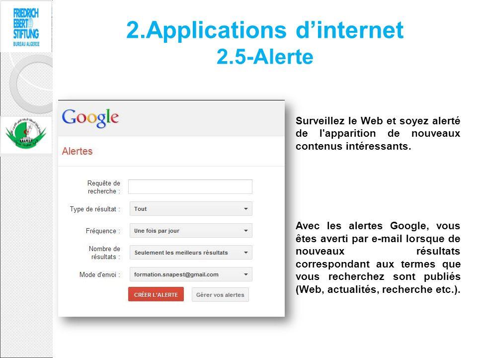 2.Applications dinternet 2.5-Alerte Surveillez le Web et soyez alerté de l'apparition de nouveaux contenus intéressants. Avec les alertes Google, vous