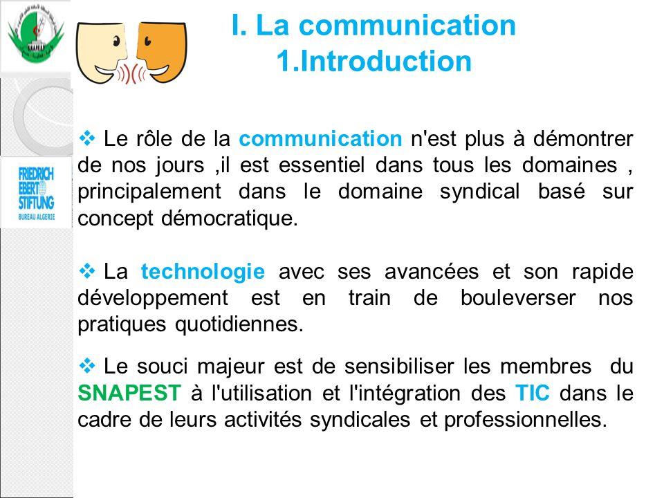 I. La communication 1.Introduction Le rôle de la communication n'est plus à démontrer de nos jours,il est essentiel dans tous les domaines, principale