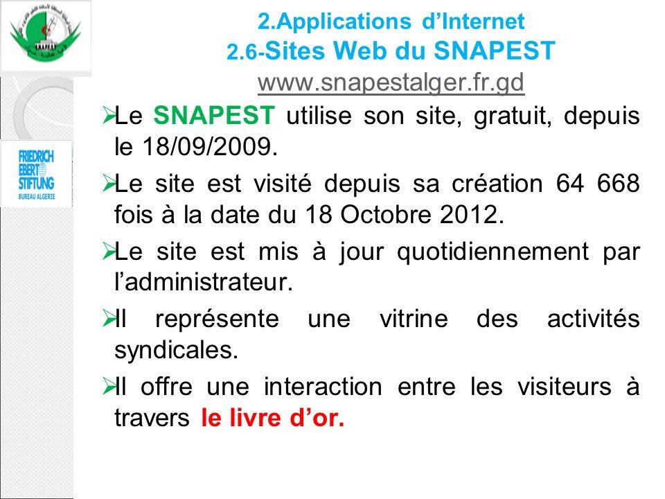 2.Applications dInternet 2.6 - Sites Web du SNAPEST www.snapestalger.fr.gd www.snapestalger.fr.gd Le SNAPEST utilise son site, gratuit, depuis le 18/0