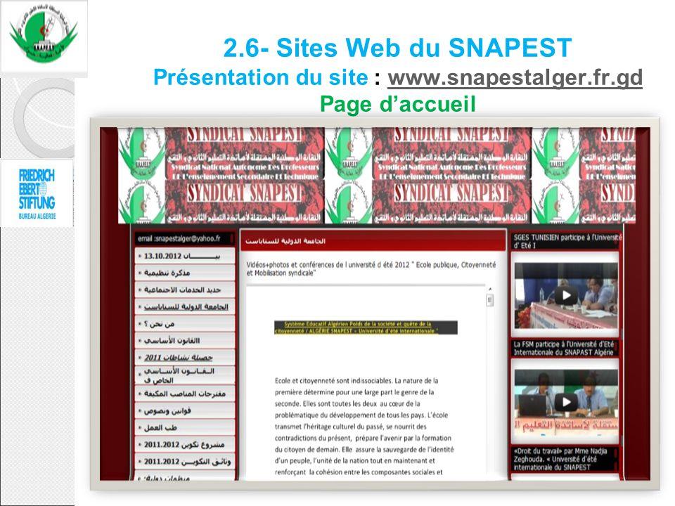 2.6- Sites Web du SNAPEST Présentation du site : www.snapestalger.fr.gd Page daccueilwww.snapestalger.fr.gd