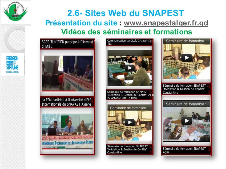2.6- Sites Web du SNAPEST Présentation du site : www.snapestalger.fr.gd Vidéos des séminaires et formationswww.snapestalger.fr.gd