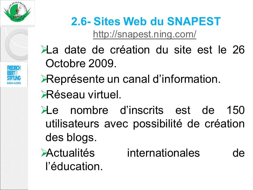 2.6- Sites Web du SNAPEST http://snapest.ning.com/ http://snapest.ning.com/ La date de création du site est le 26 Octobre 2009. Représente un canal di