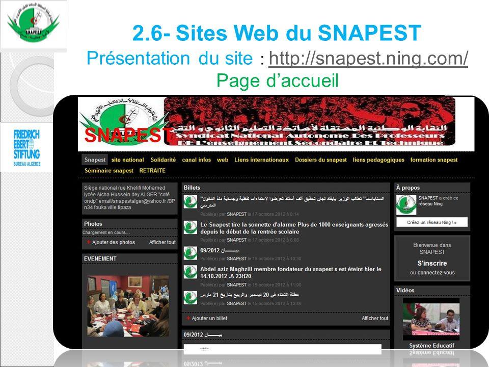 2.6- Sites Web du SNAPEST Présentation du site : http://snapest.ning.com/ Page daccueil http://snapest.ning.com/