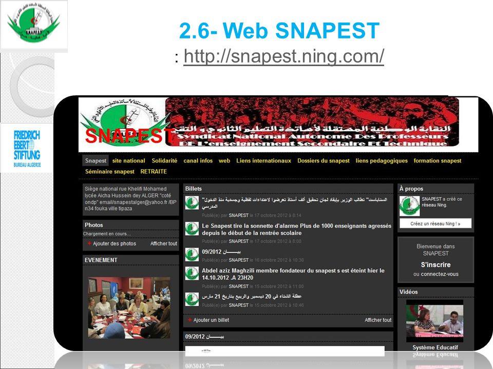 2.6- Sites Web du SNAPEST Présentation du site : http://snapest.ning.com/ Page daccueil http://snapest.ning.com/ 2.6- Web SNAPEST : http://snapest.nin