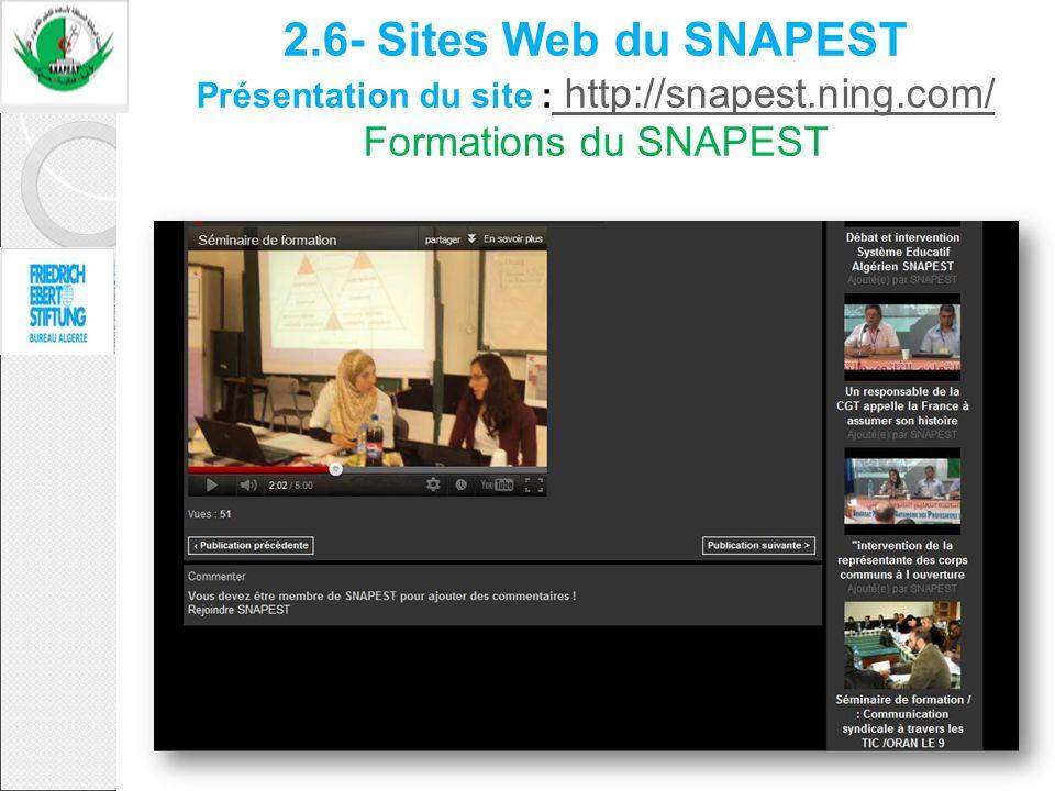 2.6- Sites Web du SNAPEST Présentation du site : http://snapest.ning.com/ Formations du SNAPEST http://snapest.ning.com/