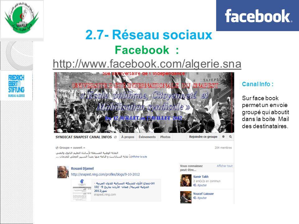 2.7- Réseau sociaux Facebook : http://www.facebook.com/algerie.sna pestpest http://www.facebook.com/algerie.sna pestpest Canal Info : Sur face book pe