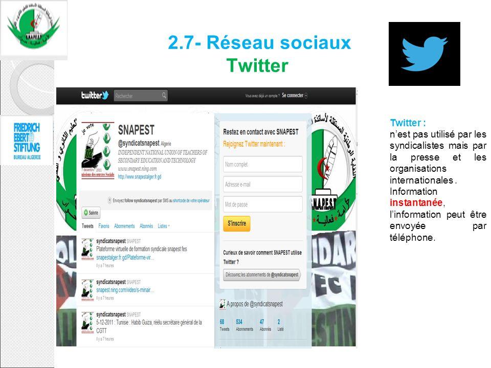 2.7- Réseau sociaux Twitter Twitter : nest pas utilisé par les syndicalistes mais par la presse et les organisations internationales. Information inst
