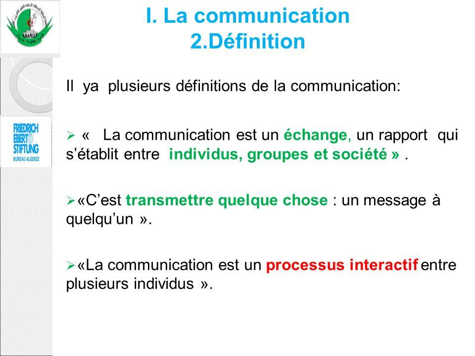 Il ya plusieurs définitions de la communication: « La communication est un échange, un rapport qui sétablit entre individus, groupes et société ». «Ce