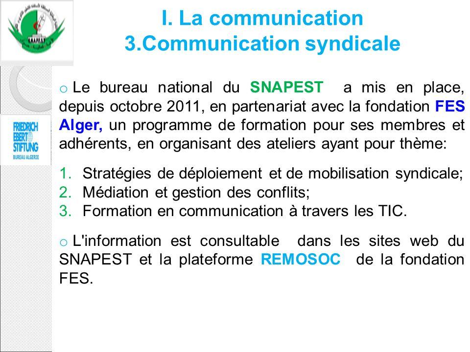 o Le bureau national du SNAPEST a mis en place, depuis octobre 2011, en partenariat avec la fondation FES Alger, un programme de formation pour ses me