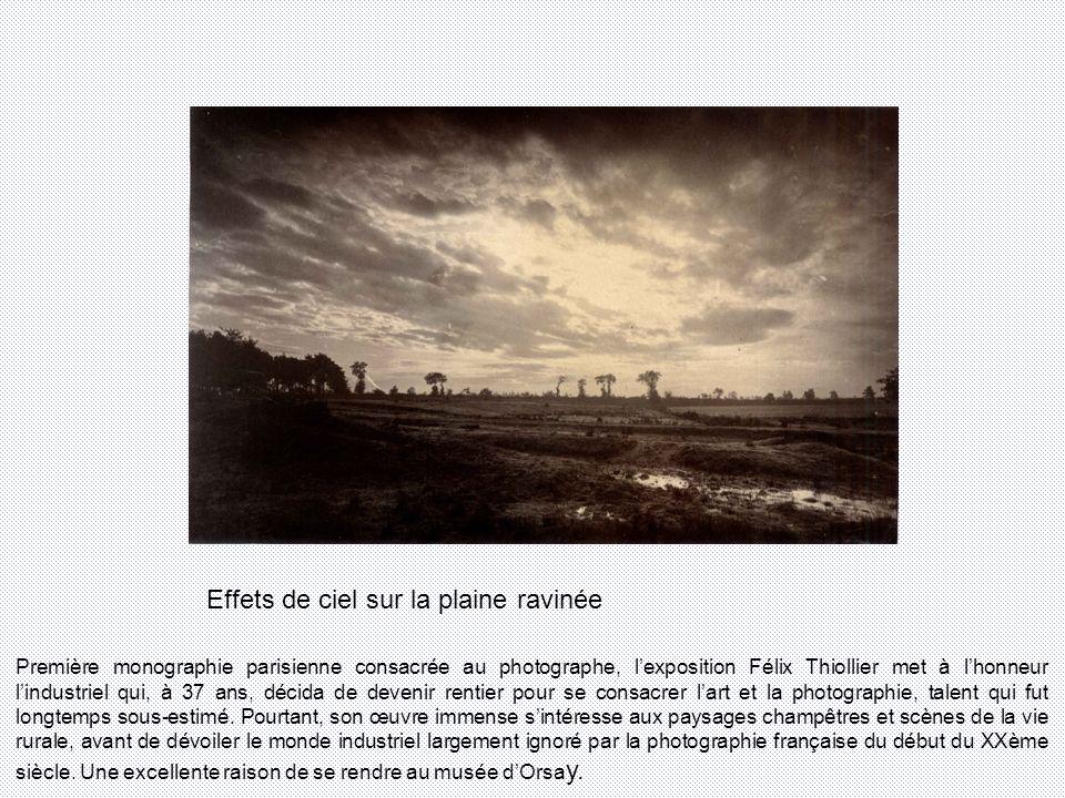 Effets de ciel sur la plaine ravinée Première monographie parisienne consacrée au photographe, lexposition Félix Thiollier met à lhonneur lindustriel qui, à 37 ans, décida de devenir rentier pour se consacrer lart et la photographie, talent qui fut longtemps sous-estimé.