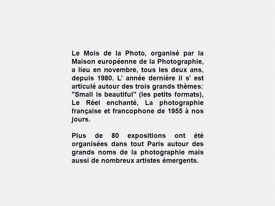 Le Mois de la Photo, organisé par la Maison européenne de la Photographie, a lieu en novembre, tous les deux ans, depuis 1980.