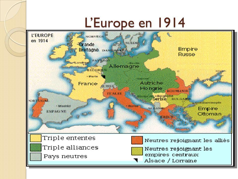 La Triple Entente et la Triple Alliance Il y a deux clans, dun coté la Triple Entente (France, Russie et le Royaume uni), de lautre les empires centra