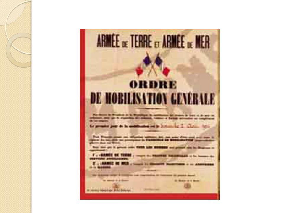 La mobilisation Le 3 Août 1914 les Français rentrent en guerre contre lAllemagne. Ils pensent que la guerre ne va pas durer longtemps, mais malgré le
