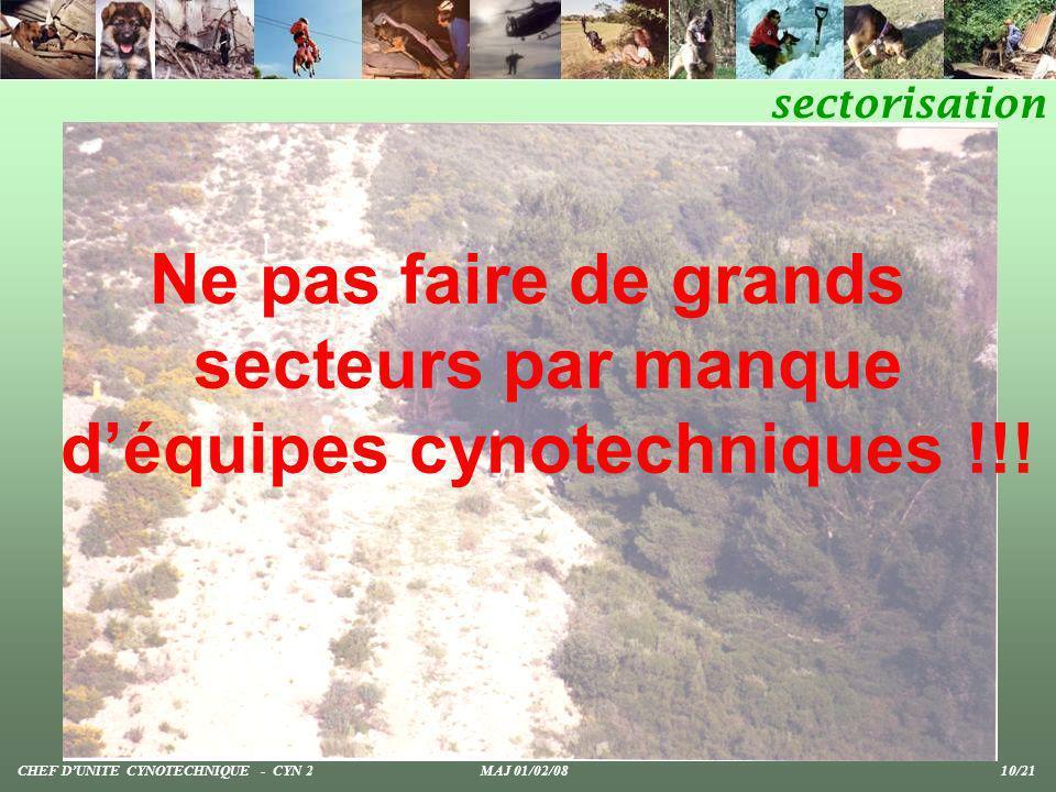Ne pas faire de grands secteurs par manque déquipes cynotechniques !!! sectorisation CHEF DUNITE CYNOTECHNIQUE - CYN 2 MAJ 01/02/08 10/21
