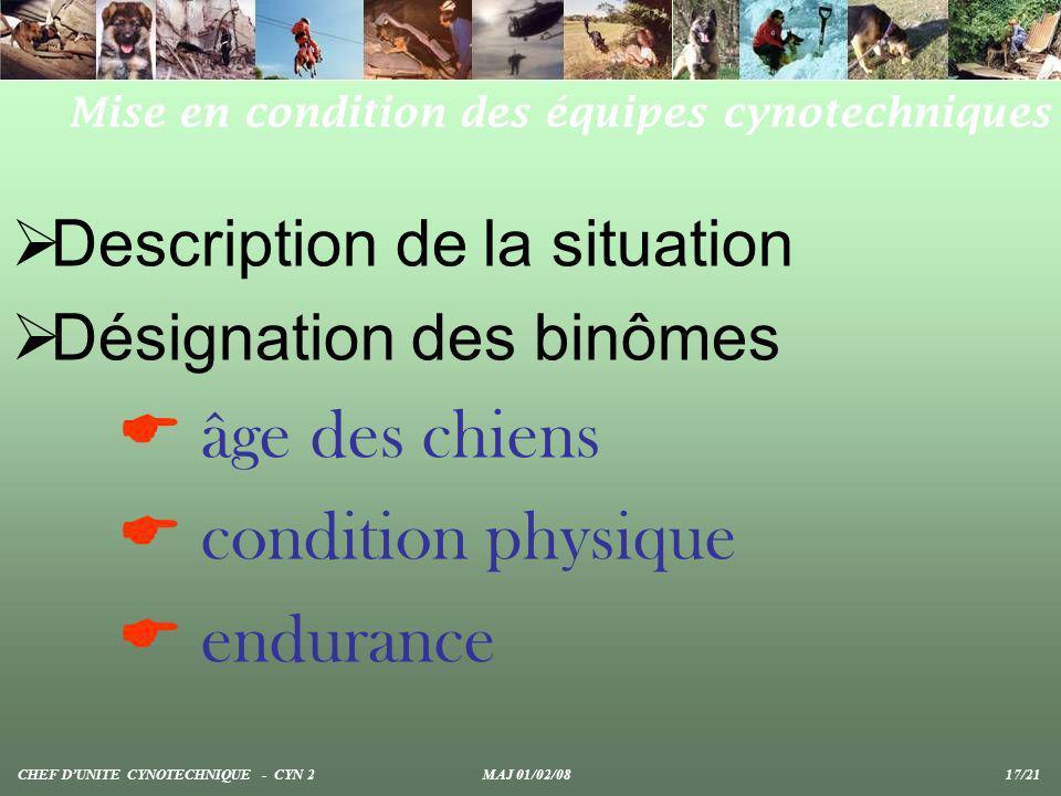 Description de la situation Désignation des binômes âge des chiens condition physique endurance Mise en condition des équipes cynotechniques CHEF DUNI