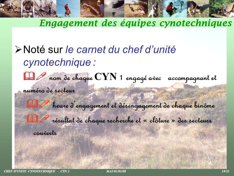 Noté sur le carnet du chef dunité cynotechnique : nom de chaque CYN 1 engagé avec accompagnant et numéro de secteur heure dengagement et désengagement