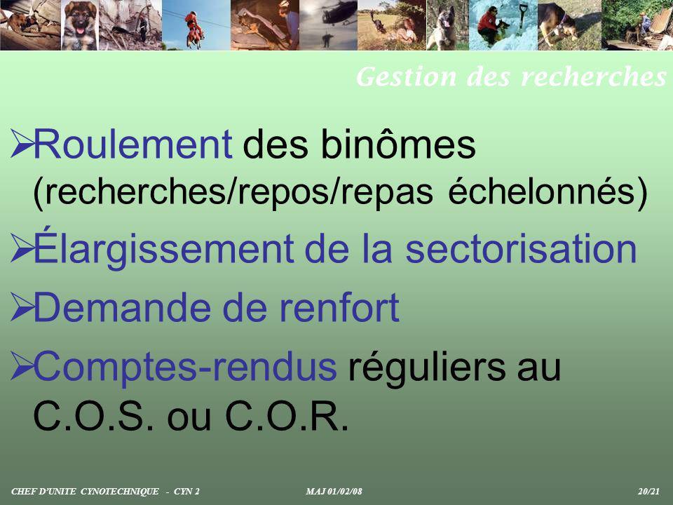Roulement des binômes (recherches/repos/repas échelonnés) Élargissement de la sectorisation Demande de renfort Comptes-rendus réguliers au C.O.S. ou C