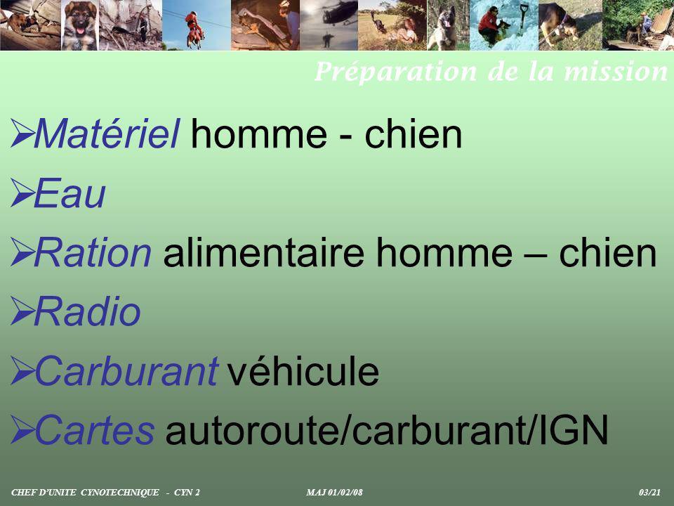 Matériel homme - chien Eau Ration alimentaire homme – chien Radio Carburant véhicule Cartes autoroute/carburant/IGN Préparation de la mission CHEF DUN