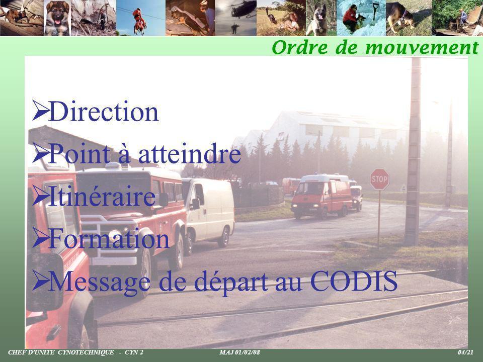 Direction Point à atteindre Itinéraire Formation Message de départ au CODIS Ordre de mouvement CHEF DUNITE CYNOTECHNIQUE - CYN 2 MAJ 01/02/08 04/21