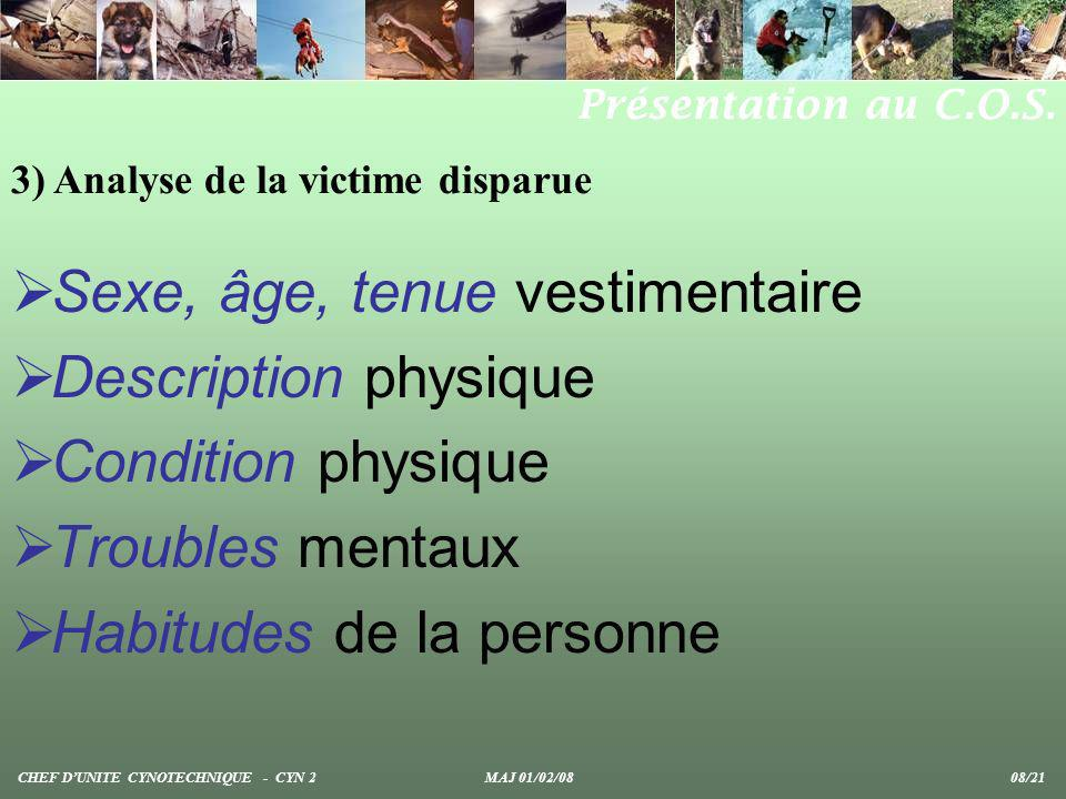 Sexe, âge, tenue vestimentaire Description physique Condition physique Troubles mentaux Habitudes de la personne 3) Analyse de la victime disparue CHE