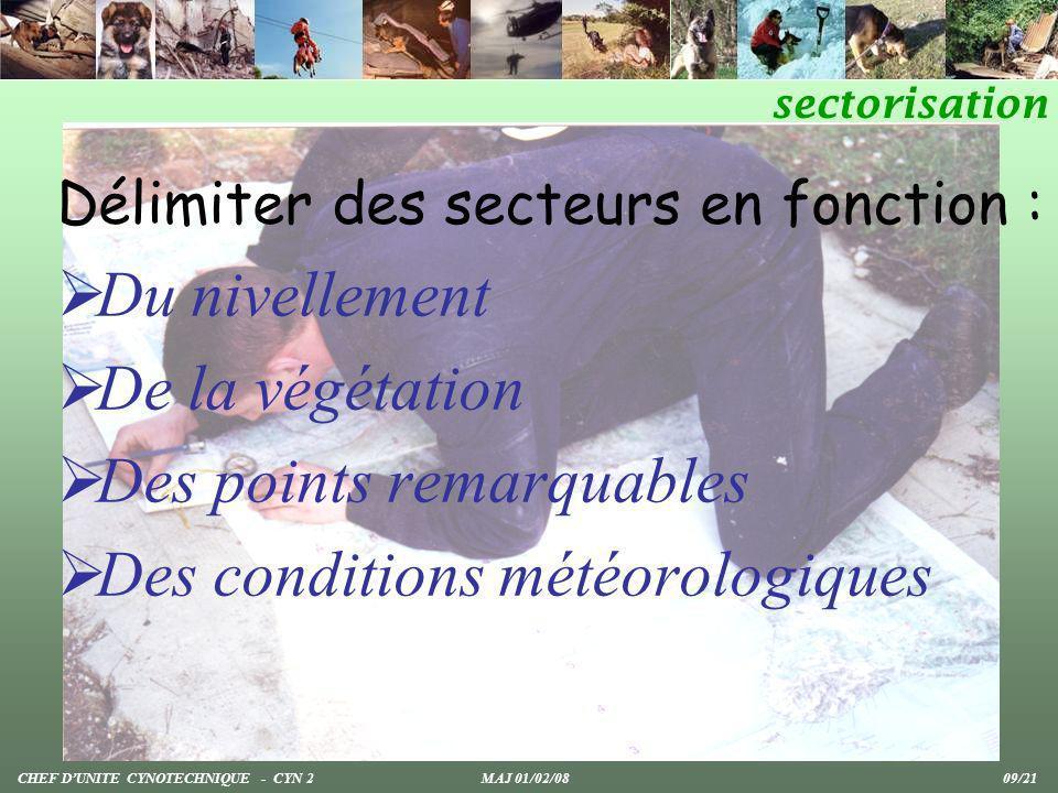 Délimiter des secteurs en fonction : Du nivellement De la végétation Des points remarquables Des conditions météorologiques sectorisation CHEF DUNITE