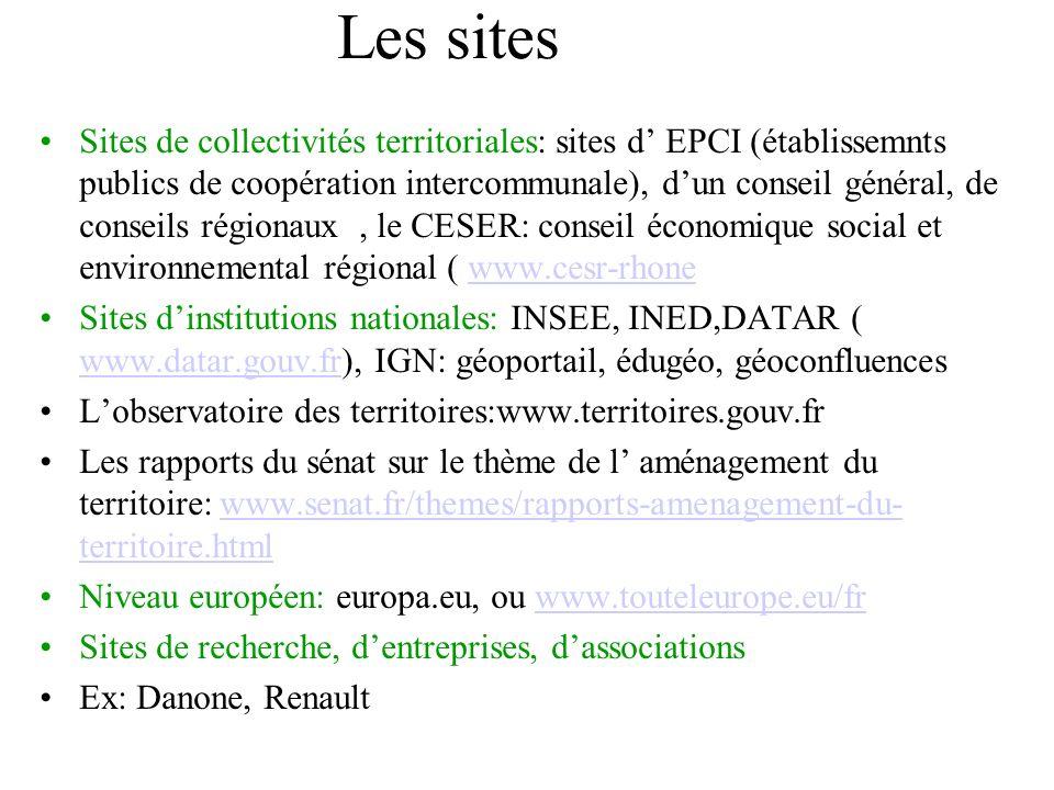 Les sites Sites de collectivités territoriales: sites d EPCI (établissemnts publics de coopération intercommunale), dun conseil général, de conseils r