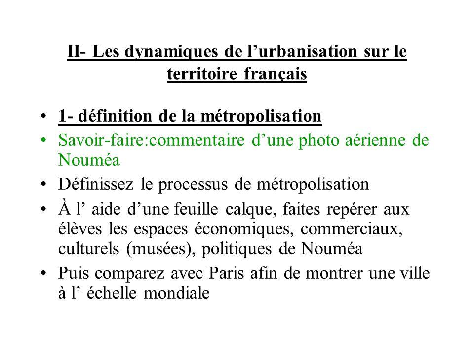 II- Les dynamiques de lurbanisation sur le territoire français 1- définition de la métropolisation Savoir-faire:commentaire dune photo aérienne de Nou