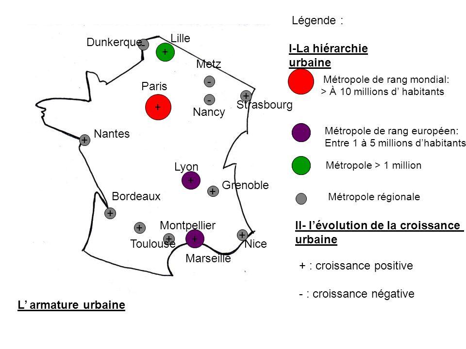 L armature urbaine + + + + + + + Métropole de rang mondial: > À 10 millions d habitants Métropole de rang européen: Entre 1 à 5 millions dhabitants Mé